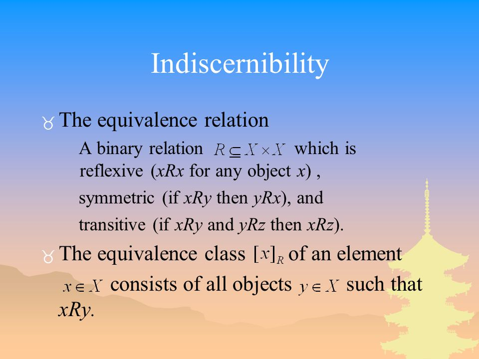 Indiscernibility The equivalence relation