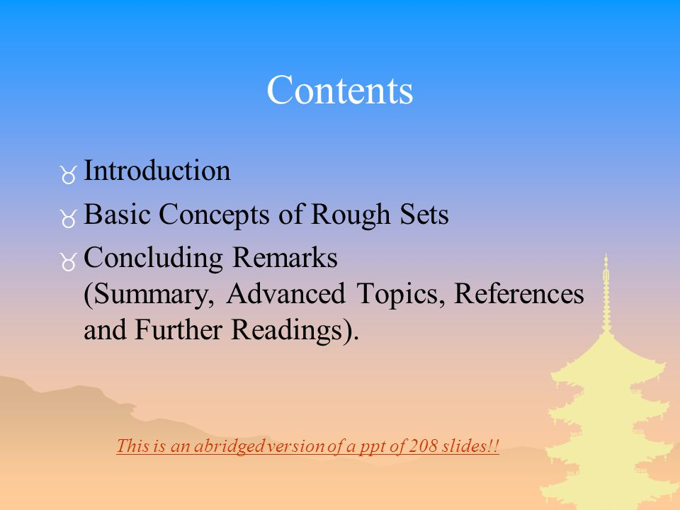 Contents Introduction Basic Concepts of Rough Sets