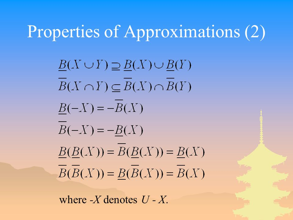 Properties of Approximations (2)
