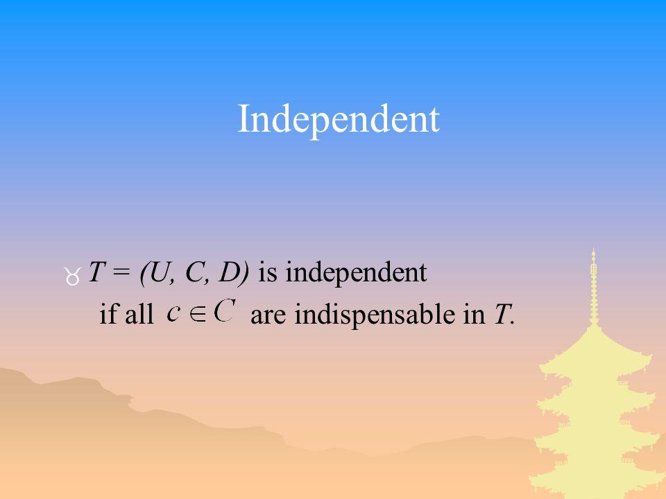 Independent T = (U, C, D) is independent