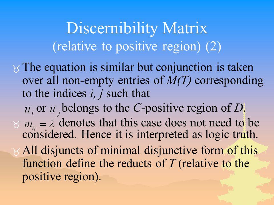 Discernibility Matrix (relative to positive region) (2)