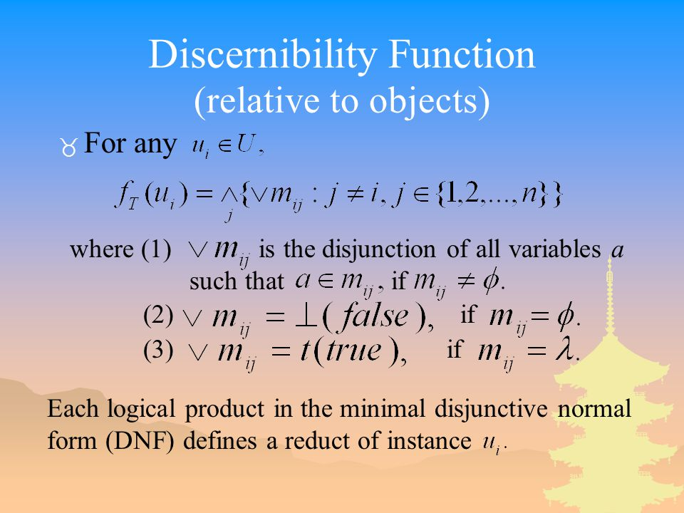 Discernibility Function (relative to objects)