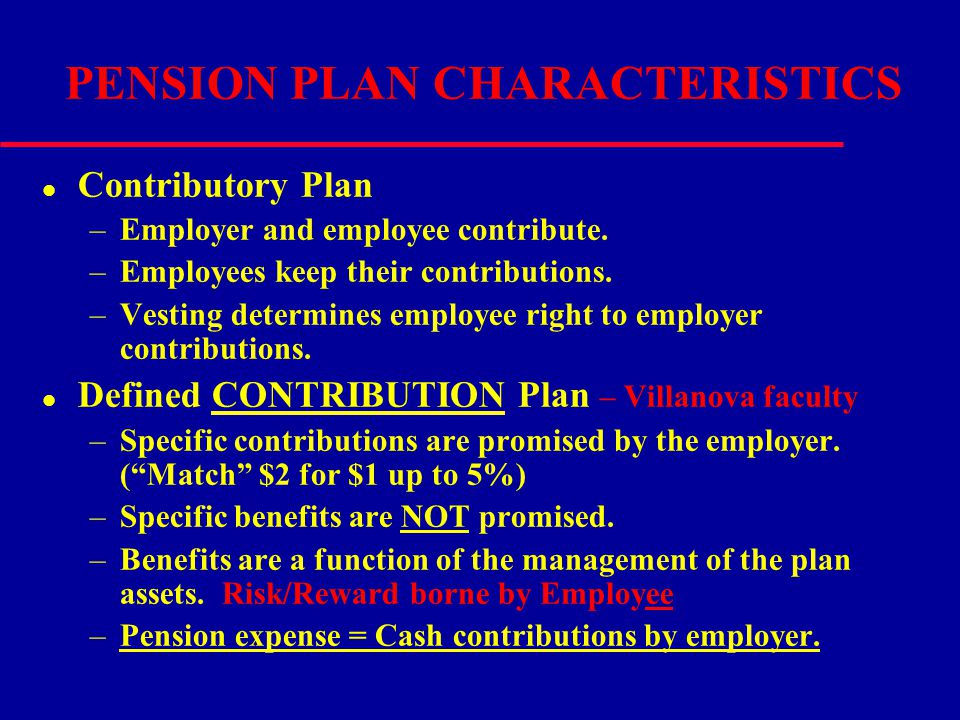 PENSION PLAN CHARACTERISTICS