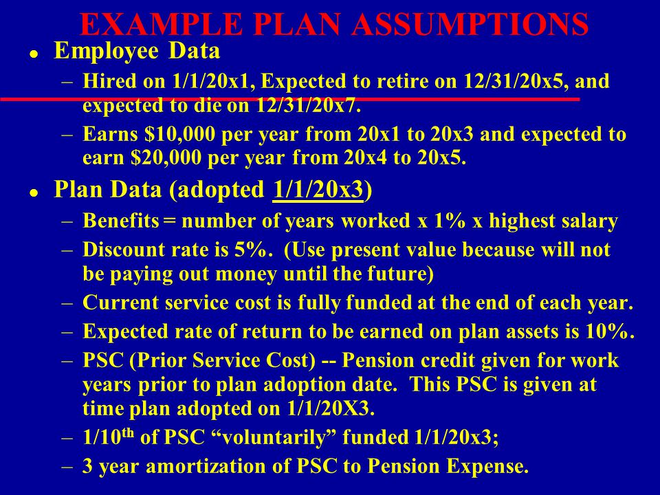 EXAMPLE PLAN ASSUMPTIONS