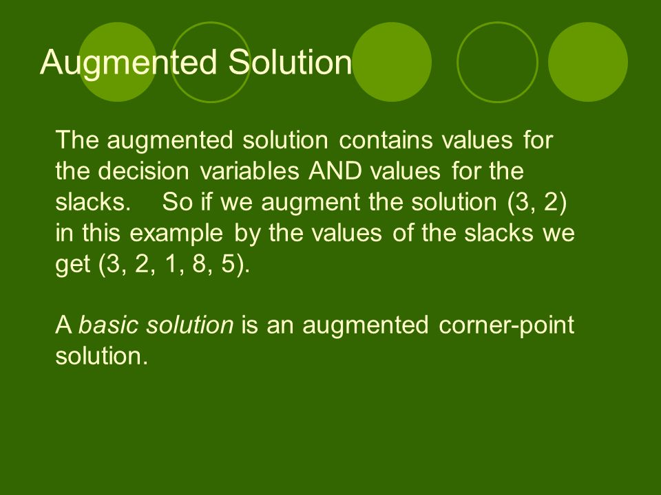 Augmented Solution The augmented solution contains values for