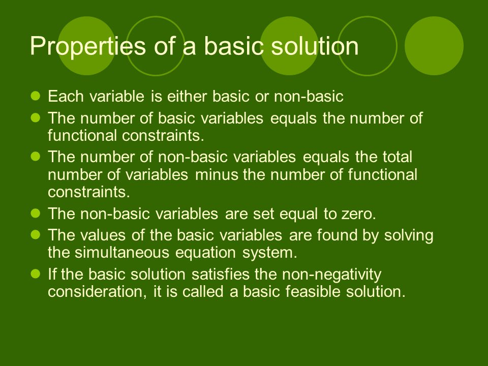 Properties of a basic solution