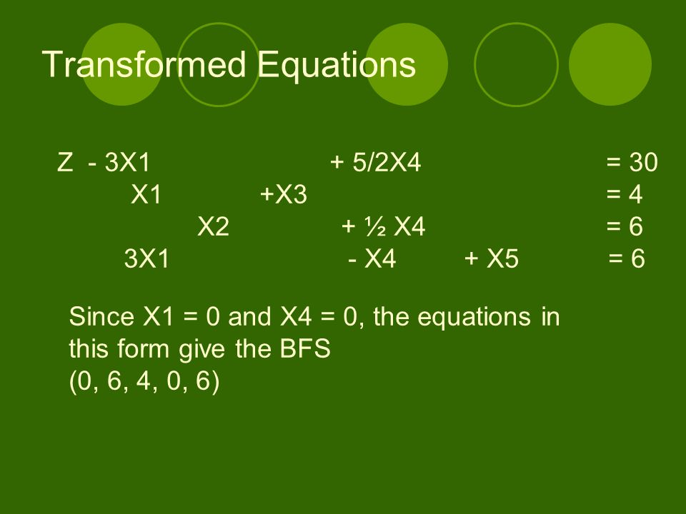 Transformed Equations