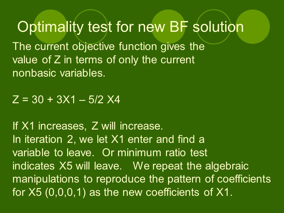 Optimality test for new BF solution