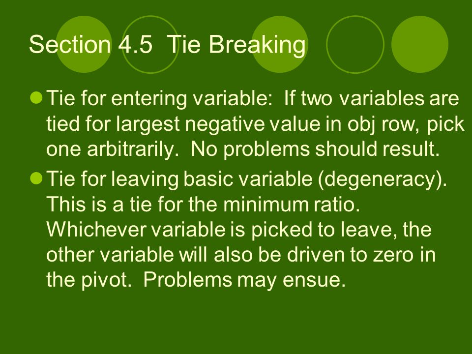 Section 4.5 Tie Breaking