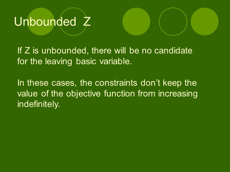 Unbounded Z If Z is unbounded, there will be no candidate