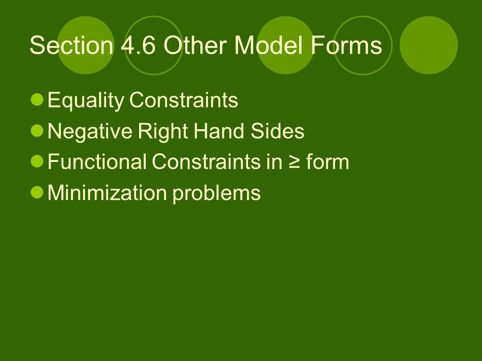 Section 4.6 Other Model Forms