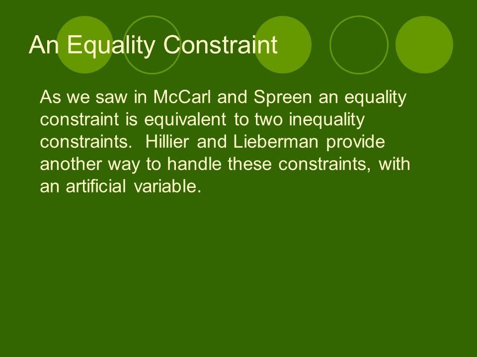 An Equality Constraint