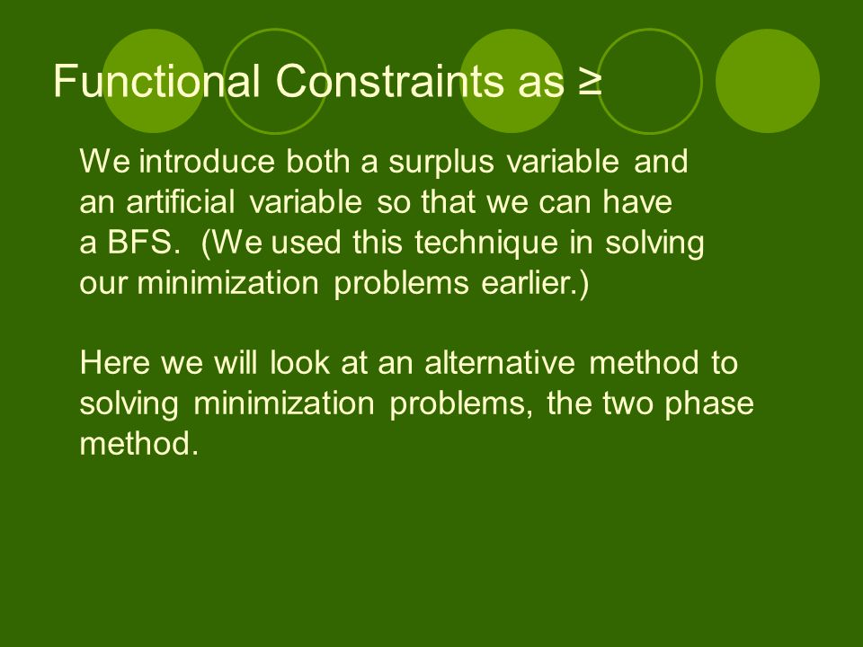 Functional Constraints as ≥
