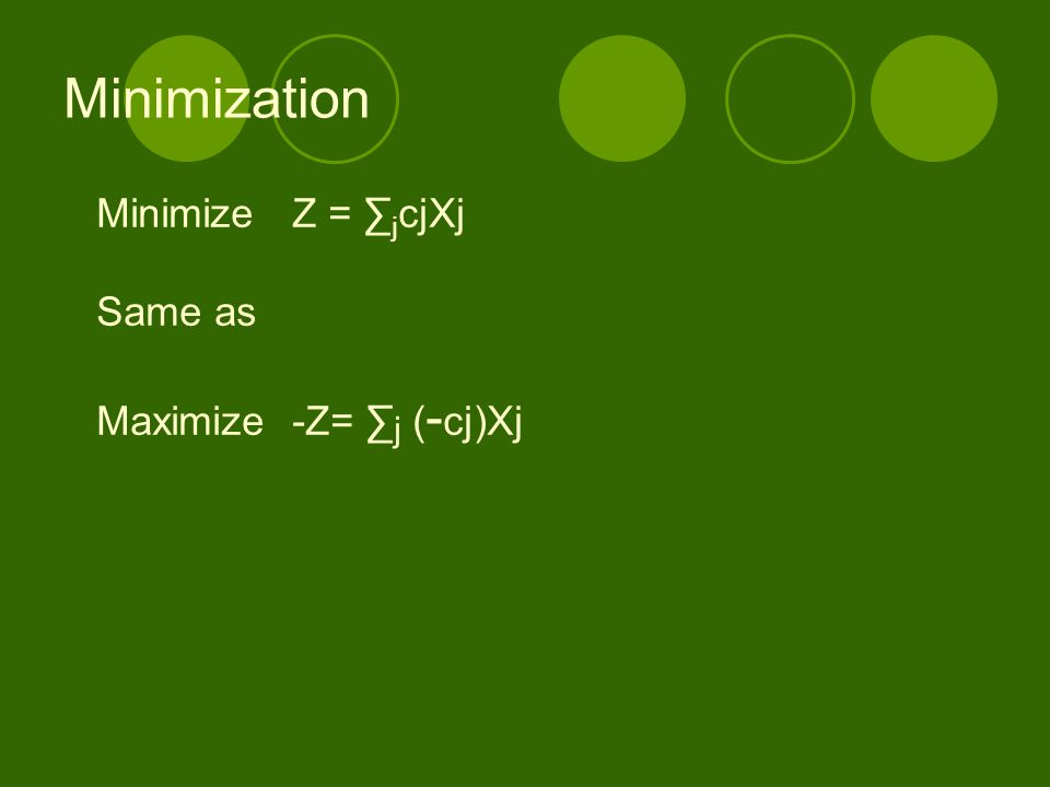 Minimization Minimize Z = ∑jcjXj Same as Maximize -Z= ∑j (-cj)Xj