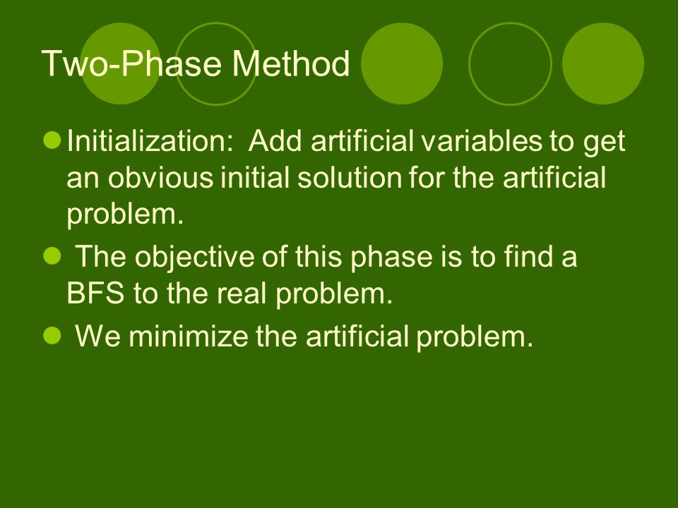 Two-Phase Method Initialization: Add artificial variables to get an obvious initial solution for the artificial problem.