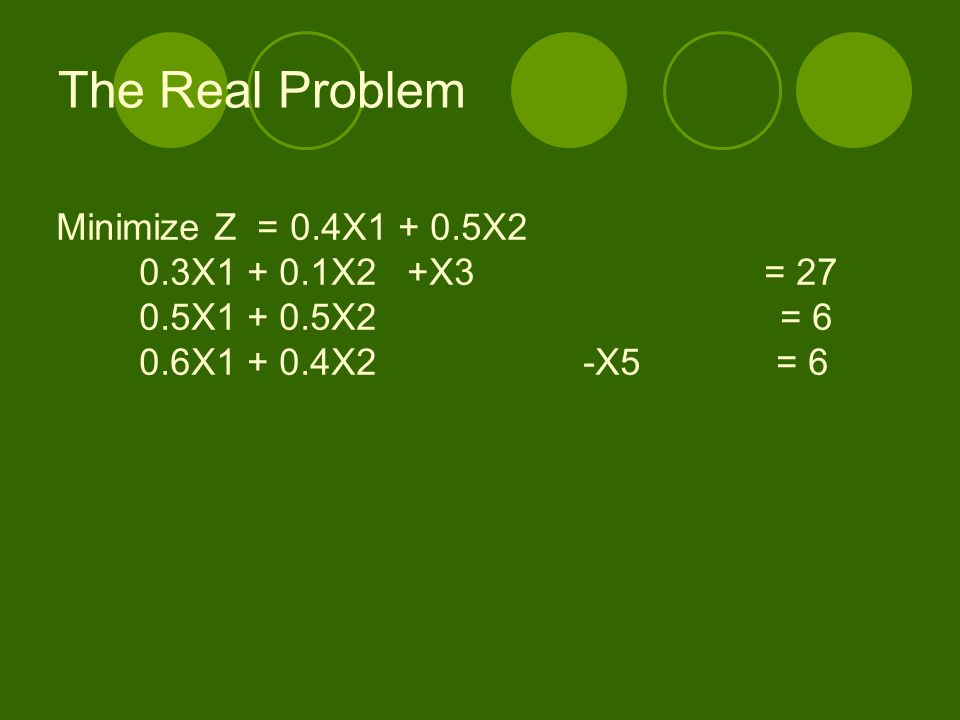 The Real Problem Minimize Z = 0.4X1 + 0.5X2 0.3X1 + 0.1X2 +X3 = 27
