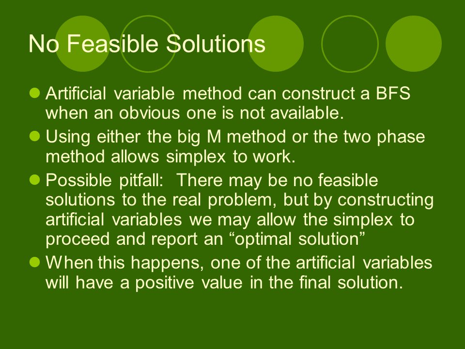 No Feasible Solutions Artificial variable method can construct a BFS when an obvious one is not available.