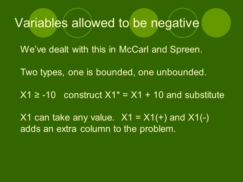 Variables allowed to be negative