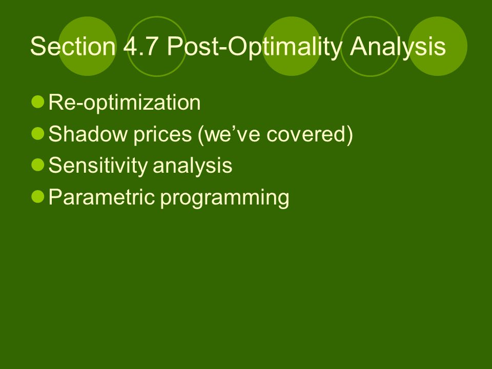 Section 4.7 Post-Optimality Analysis