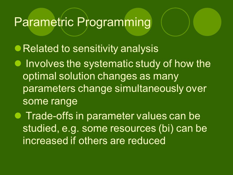 Parametric Programming