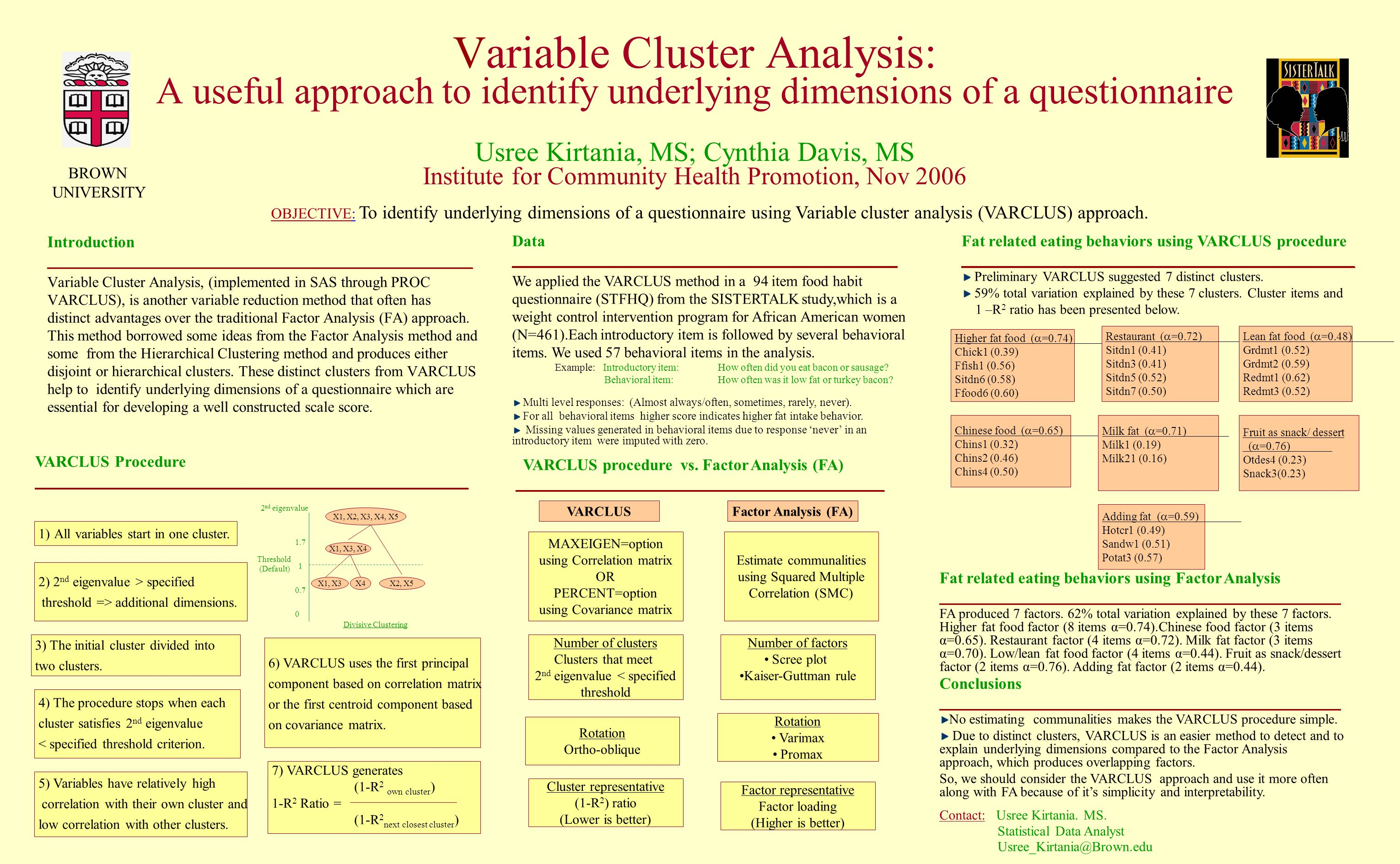 Variable Cluster Analysis: A useful approach to identify underlying dimensions of a questionnaire Usree Kirtania, MS; Cynthia Davis, MS Institute for Community Health Promotion, Nov 2006