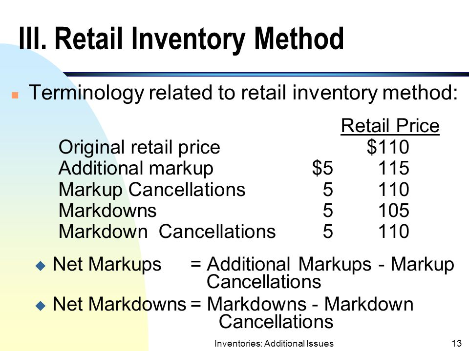 III. Retail Inventory Method