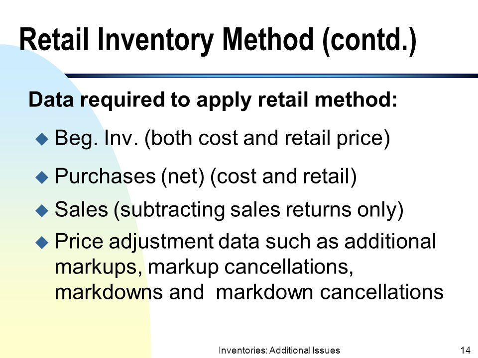 Retail Inventory Method (contd.)