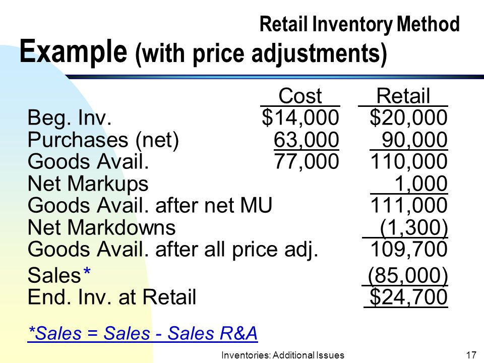Retail Inventory Method Example (with price adjustments)