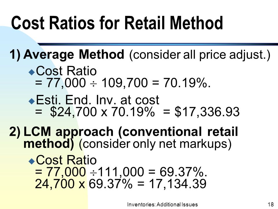 Cost Ratios for Retail Method