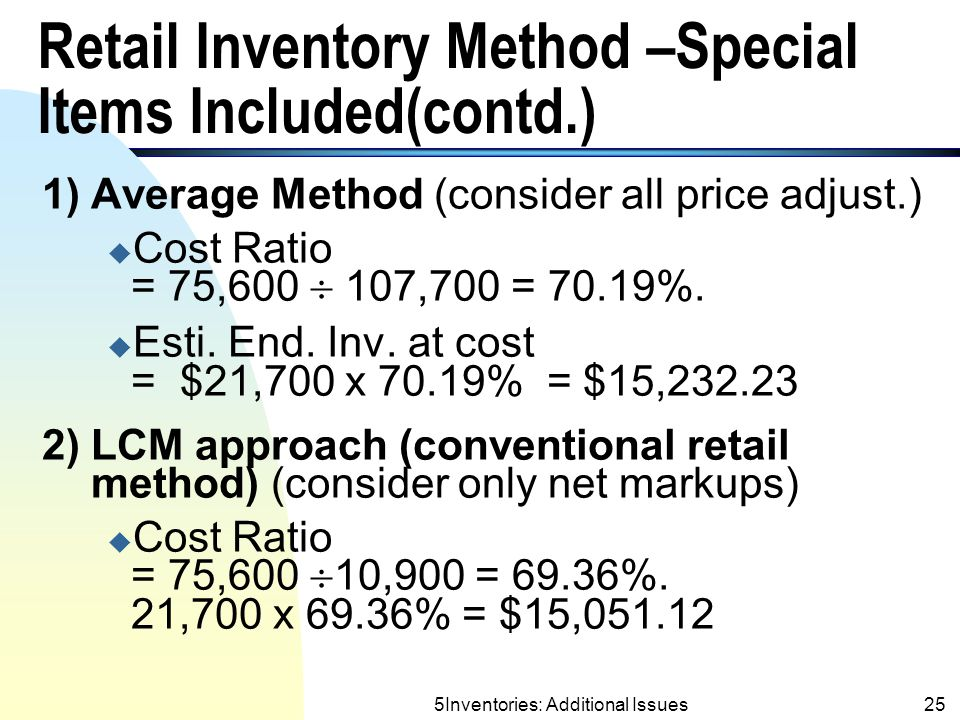 Retail Inventory Method –Special Items Included(contd.)