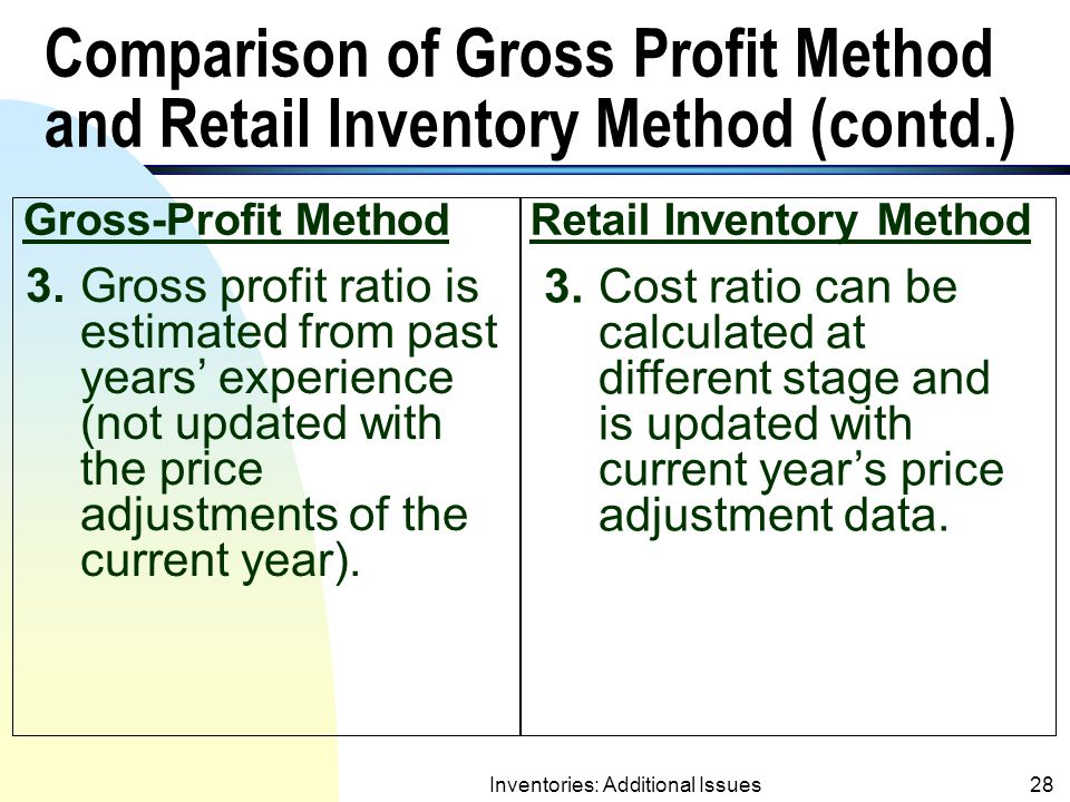 Comparison of Gross Profit Method and Retail Inventory Method (contd.)