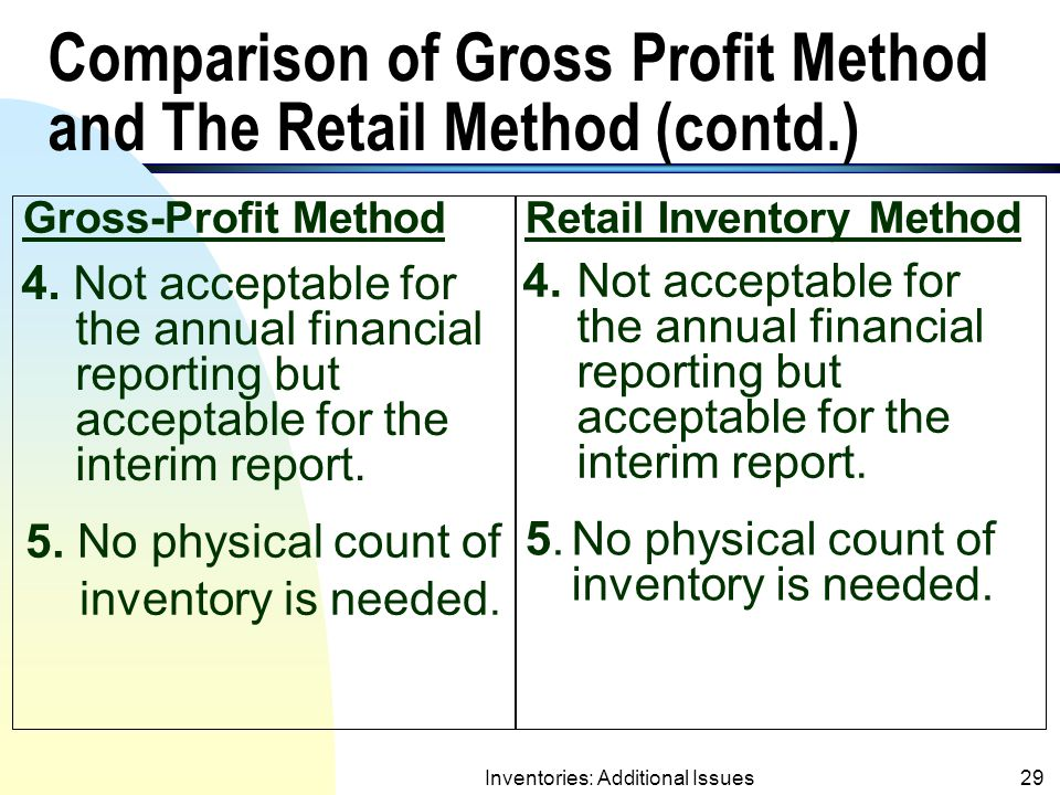 Comparison of Gross Profit Method and The Retail Method (contd.)