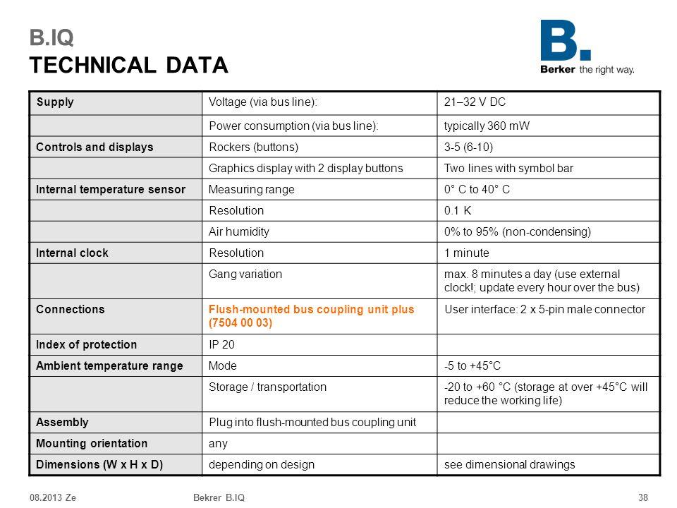 B.IQ TECHNICAL DATA Supply Voltage (via bus line): 21–32 V DC