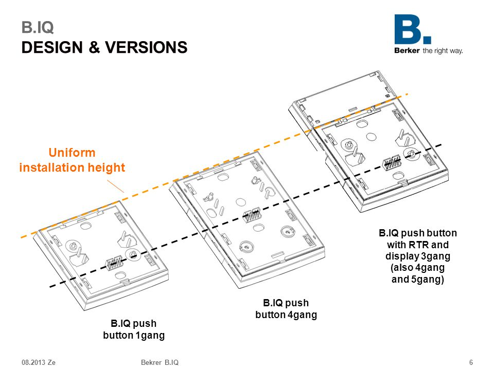 B.IQ DESIGN & VERSIONS Uniform installation height