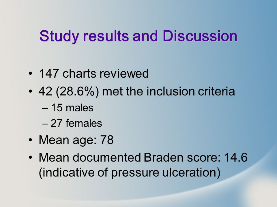 Study results and Discussion