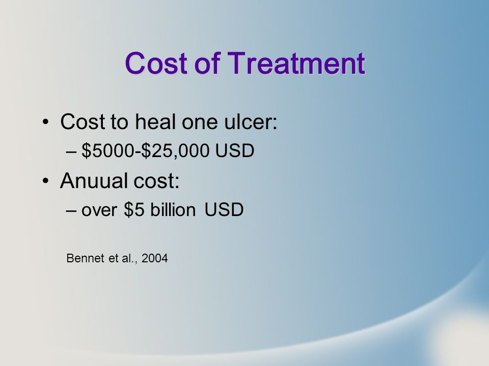 Cost of Treatment Cost to heal one ulcer: Anuual cost: