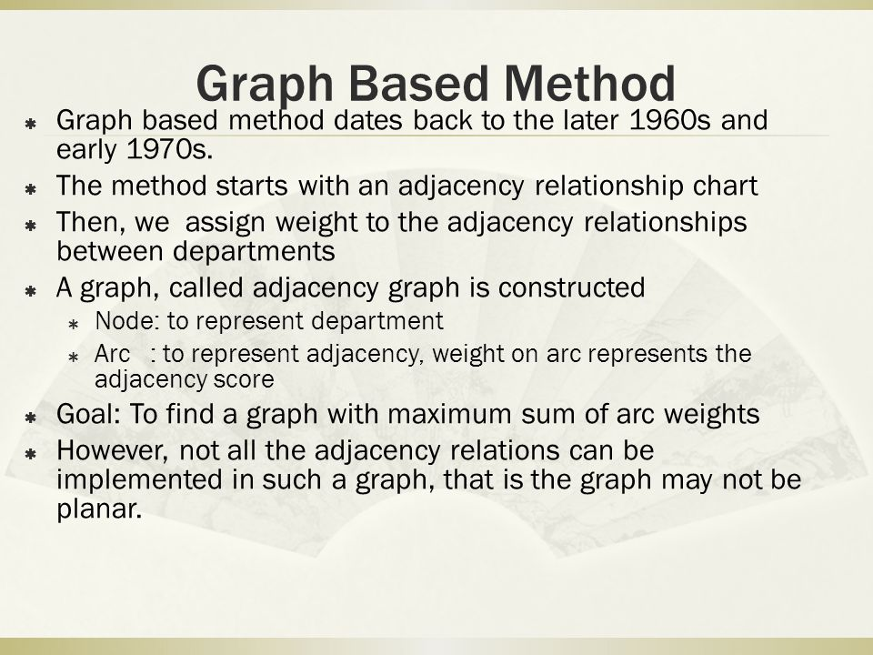 Graph Based Method Graph based method dates back to the later 1960s and early 1970s. The method starts with an adjacency relationship chart.
