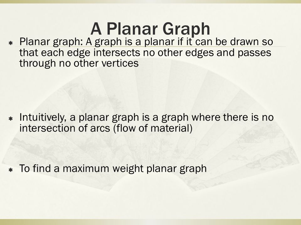 A Planar Graph Planar graph: A graph is a planar if it can be drawn so that each edge intersects no other edges and passes through no other vertices.