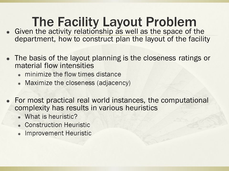The Facility Layout Problem