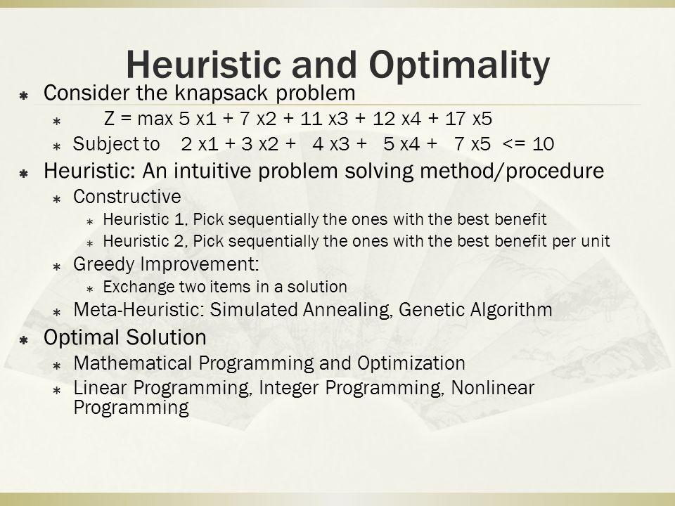 Heuristic and Optimality
