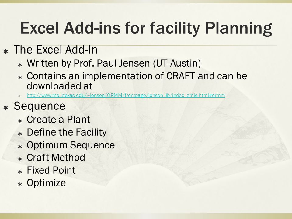 Excel Add-ins for facility Planning
