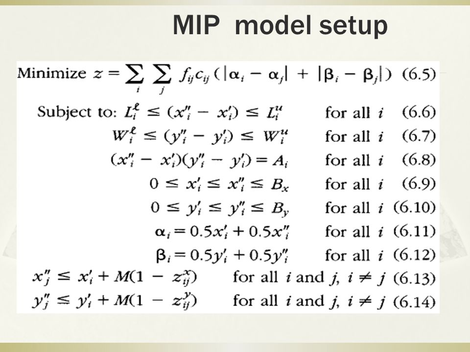 MIP model setup