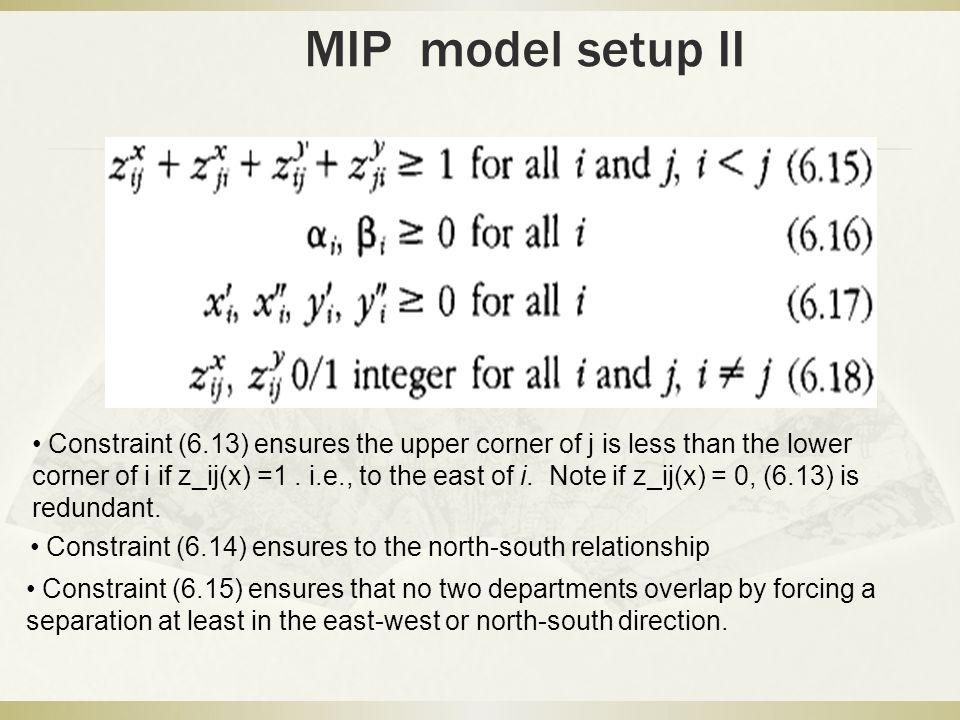 MIP model setup II