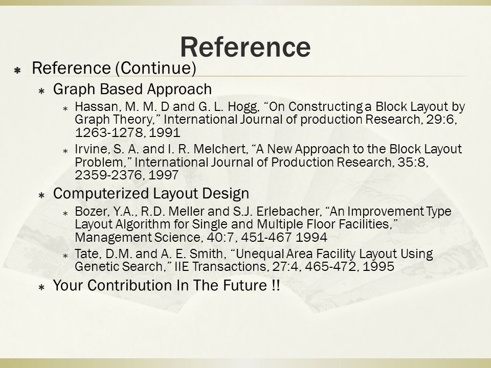 Reference Reference (Continue) Graph Based Approach