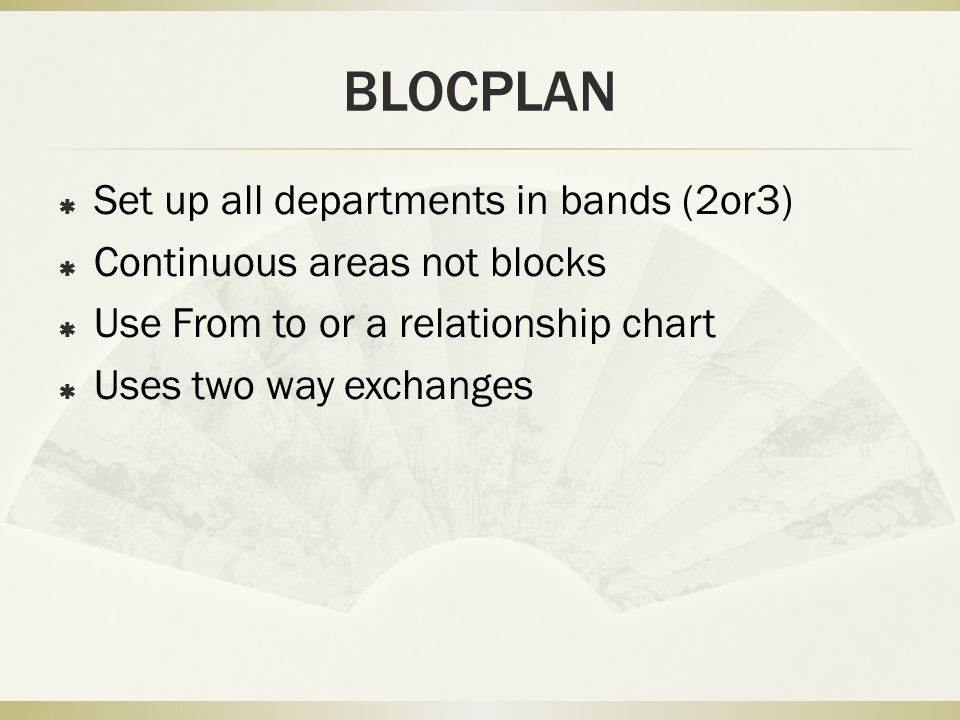 BLOCPLAN Set up all departments in bands (2or3)