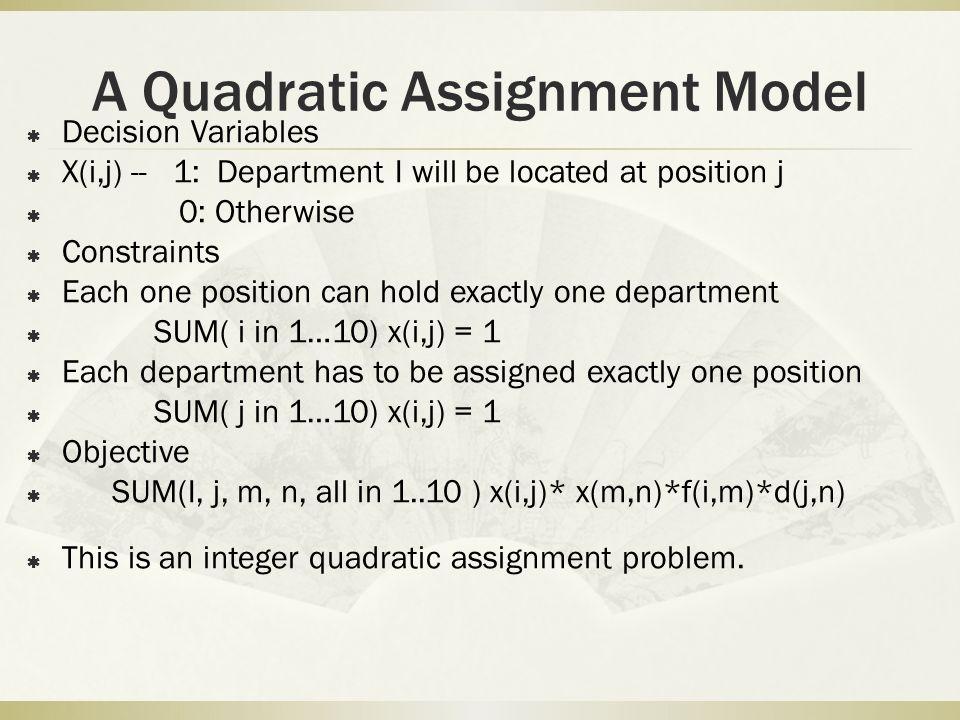 A Quadratic Assignment Model