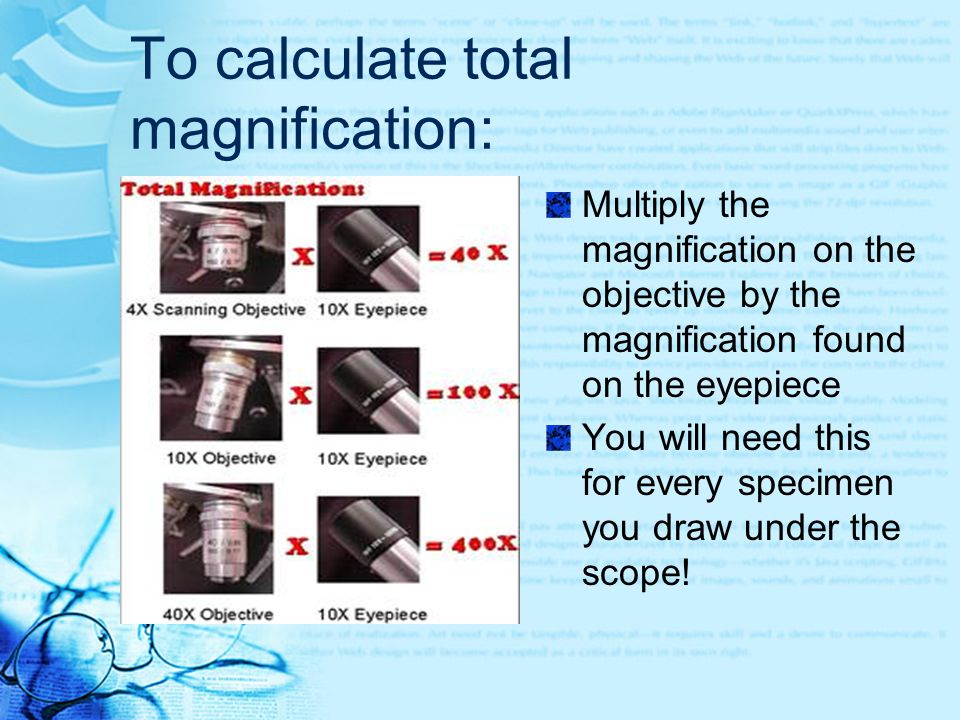 To calculate total magnification: