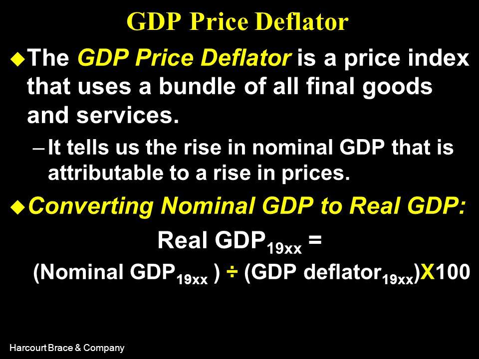(Nominal GDP19xx ) ÷ (GDP deflator19xx)X100
