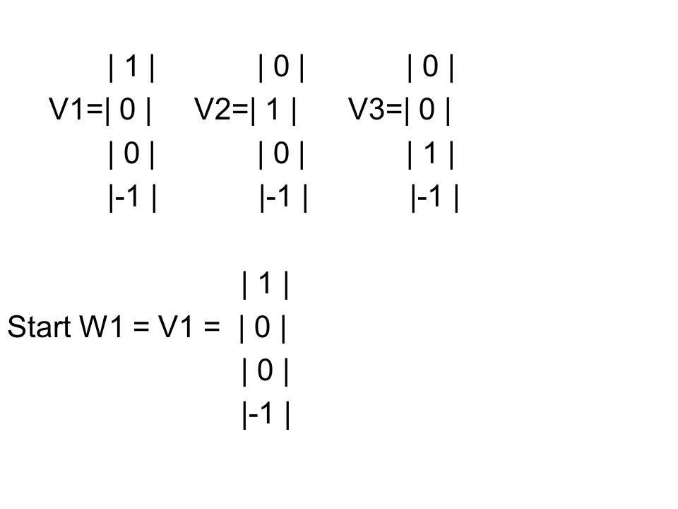 | 1 | | 0 | | 0 | V1=| 0 | V2=| 1 | V3=| 0 | | 0 | | 0 | | 1 |