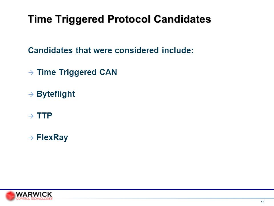 Time Triggered Protocol Candidates